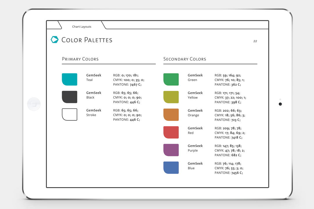 GemSeek identity color palettes